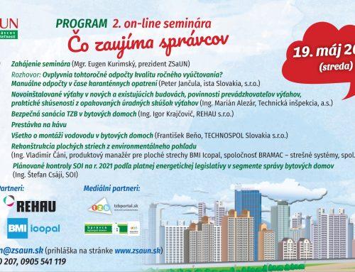 """II. Online seminár """"Čo zaujíma správcov"""" 19.mája 2021"""